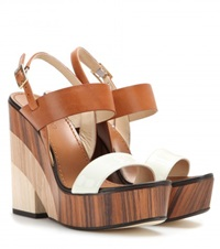 Jimmy Choo Notion Leather And Wood Wedge Sandals Brown