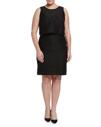 Julia Jordan Plus Sleeveless Popover Jacquard Dress Black
