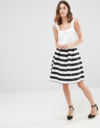 Warehouse Premium Stripe Prom Skirt Black And White Multi