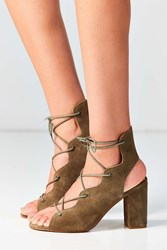 Urge Footwear Shine Lace Up Heel Khaki