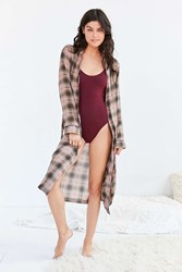 Out From Under Plaid Lounge Robe Neutral