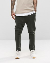 Asos Drop Crotch Joggers With Biker Zip Detail In Khaki Burnt Olive Green