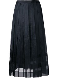 Muveil See Through Pleated Skirt Black