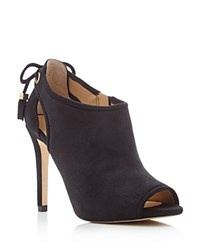 Michael Michael Kors Jennings Peep Toe High Heel Booties Black
