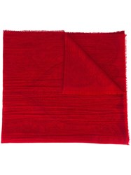 Etro Frayed Scarf Red