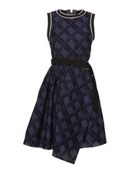 Sportmax Pool Check Print Belted Dress With Uneven Hem Navy