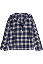 Skin Hooded Plaid Pima Cotton Pajama Top Navy