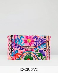 Reclaimed Vintage Pink Embroidered Cross Body Bag Pink