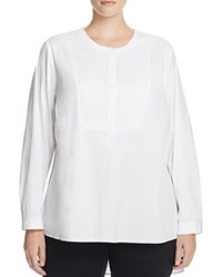 Nydj Plus Pintucked High Low Tunic Optic White
