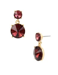 Kenneth Cole Faceted Stone Drop Earrings Burgundy