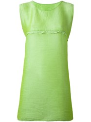 Issey Miyake Cauliflower Long Loose Fit Tank Top Green