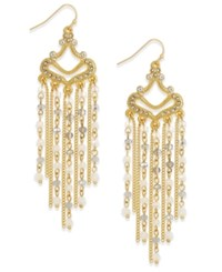Inc International Concepts Gold Tone White Stone Fringe Chandelier Earrings Only At Macy's
