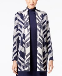 Alfani Petite Patterned Open Front Cardigan Only At Macy's Big Linear Navy
