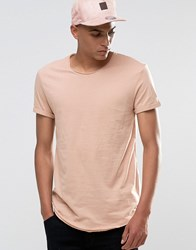 Esprit Longline T Shirt With Raw Edges Washed Pink 685