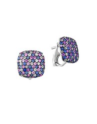 Effy 925 Sterling Silver And Tricolor Sapphire Button Earrings