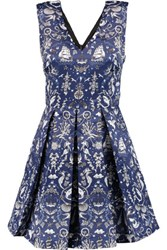 Markus Lupfer Daria Pleated Printed Satin Mini Dress Navy