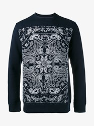 White Mountaineering Bandana Print Cotton Sweatshirt Navy White
