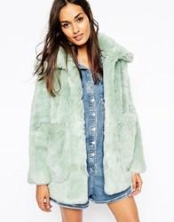 Asos Coat In Pastel Faux Fur Mint Green