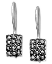 Genevieve And Grace Sterling Silver Earrings Marcasite Rectangle Earrings