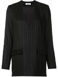 Marios Pinstripe Jacket Dress Top Black
