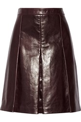 Belstaff Barton Pleated Leather Skirt Red