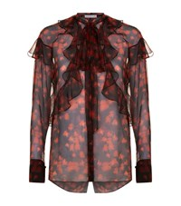 Givenchy Floral Ruffle Shirt Female Red