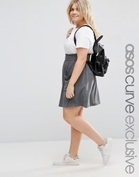 Asos Curve Skater Skirt With Shirred Waist And Pockets Charcoal Marl Grey