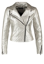 Miss Selfridge Champagne Faux Leather Jacket Metallic Silver