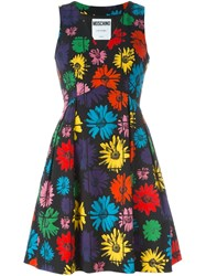 Moschino Floral Fit And Flare Dress Black