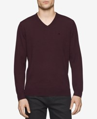 Calvin Klein Men's Merino V Neck Sweater Dark Chestnut