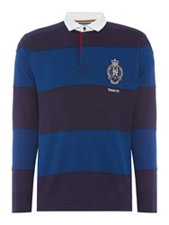 Howick Columbia Cut And Sew Stripe Long Sleeve Rugby Shirt Royal