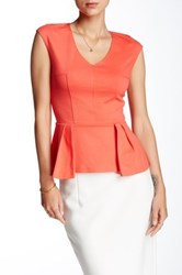 Necessary Objects V Neck Ponte Peplum Blouse Red