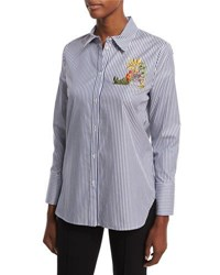 Adam By Adam Lippes Striped Blouse W Floral Embroidery Multi Colors
