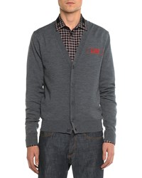 Givenchy Love Embroidered Cardigan Dark Gray Men's Size Small