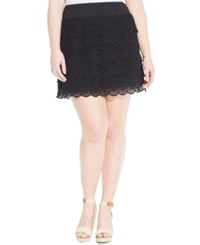 American Rag Plus Size Scalloped Crochet Mini Skirt