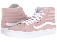 Vans Sk8 Hi Slim Suede Canvas Fawn True White Skate Shoes Pink
