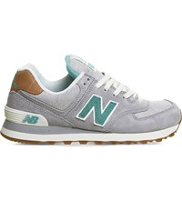 New Balance 574 Mesh And Suede Trainers Grey Green Beach
