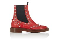 Balenciaga Women's Brogue Leather Ankle Boots Red