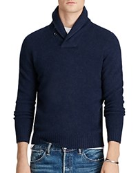 Polo Ralph Lauren Merino Cashmere Shawl Collar Sweater Aviator Navy