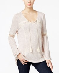 Styleandco. Style Co. Lace Trim Peasant Top Only At Macy's Light Pink