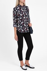 Paul Joe Women S Silk Cat Print Shirt Boutique1 Navy