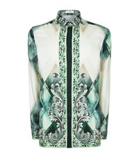 Versace Collection Abstract Baroque Print Silk Shirt Male