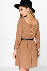 Boohoo Daisy Lace Up Back Woven Skater Dress Camel