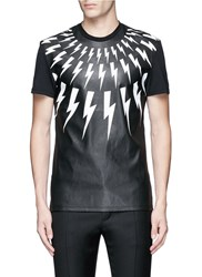 Neil Barrett Thunderbolt Print Faux Leather Front T Shirt Black
