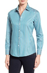 Foxcroft Women's Stripe Non Iron Cotton Sateen Shirt Peacock