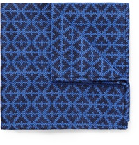 Marwood Patterned Woven Wool And Silk Blend Pocket Square Blue