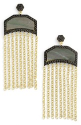 Women's Freida Rothman Slice Fringe Drop Earrings Gold Black Mother Of Pearl