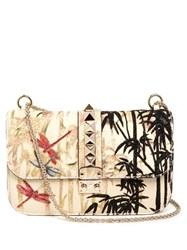 Valentino Lock Small Embroidered Leather Shoulder Bag Multi