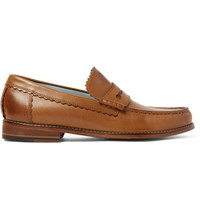 Grenson Ashley Burnished Leather Penny Loafers Brown