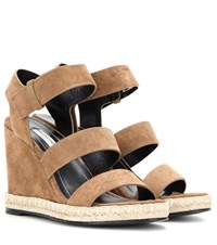 Balenciaga Suede Wedge Sandals Brown